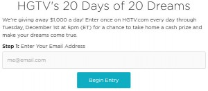 HGTV 20 Days of 20 Dreams Entry Form