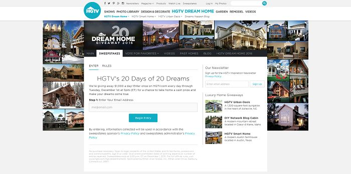 HGTV.com/HGTVDreamHome20 - HGTV's 20 Days of 20 Dreams Sweepstakes