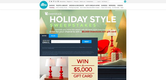 HGTV.com/HolidayStyleSweepstakes - HGTV And Overstock.com's Holiday Style Sweepstakes