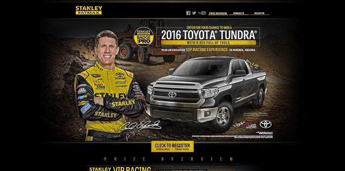 BuildYourTundra.com - Stanley Tools FATMAX Build Your Tundra Sweepstakes