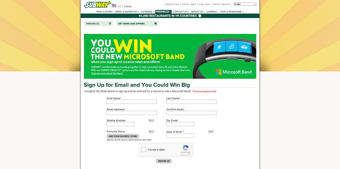 SUBWAY November Freshbuzz Sweepstakes