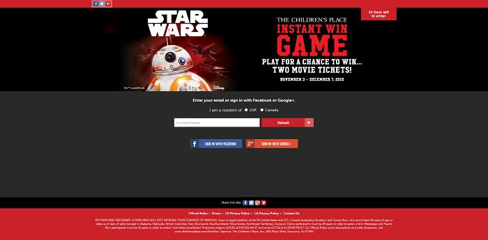 The Children's Place Star Wars Instant Win Game (ChildrensPlace.com/StarWars)