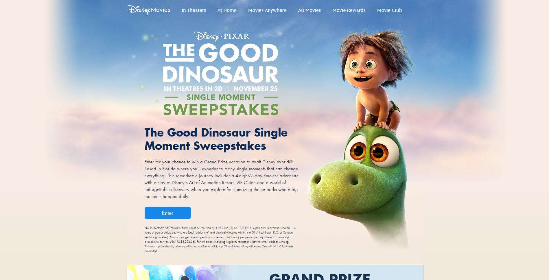 Disney.com/GoodDinoSweeps - Disney-Pixar's The Good Dinosaur Single Moment Sweepstakes