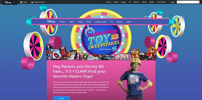 Disney.com/Claw - Hasbro And Disney's CLAW-OSSAL Toy Giveaway Sweepstakes