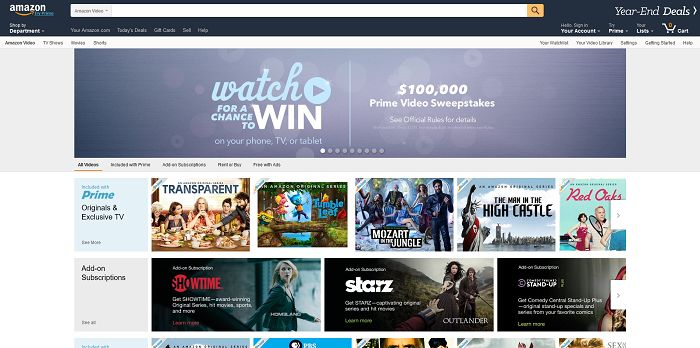 Amazon Prime Video $100,000 Sweepstakes