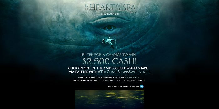 In the Heart of the Sea The Chase Begins Sweepstakes