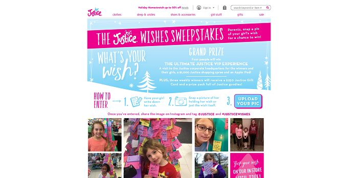 ShopJustice.com Justice Wishes Sweepstakes