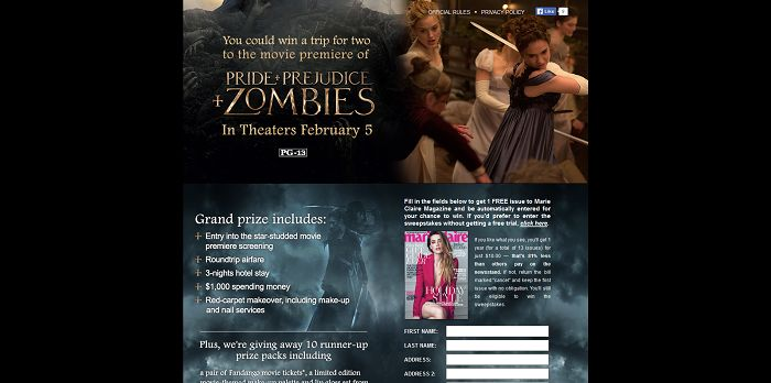 Marie Claire's Pride and Prejudice and Zombies Sweepstakes