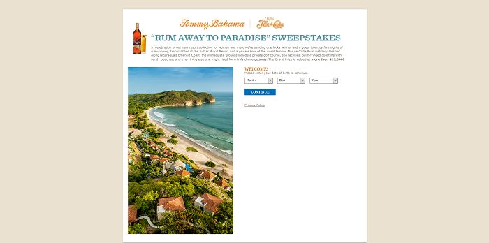 Tommy Bahama Rum Away to Paradise Sweepstakes