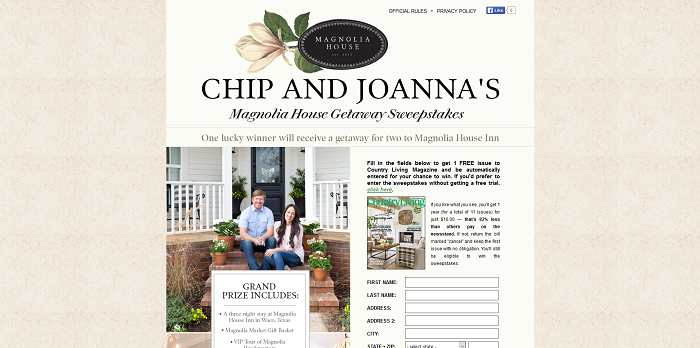 CountryLiving.com/ChipAndJoanna - Country Living Chip and Joanna Magnolia House Getaway Sweepstakes