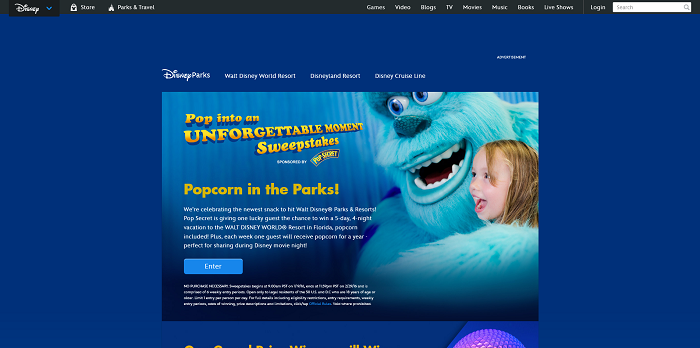 Disney.com/PopSweeps - Disney Pop Into An Unforgettable Moment Sweepstakes