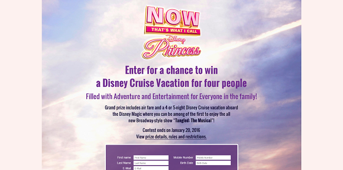 NOW That's Music Disney Cruise Sweepstakes