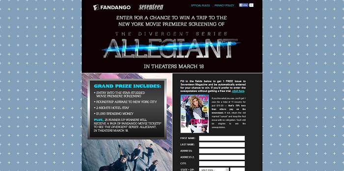 Seventeen.com/Allegiant - Seventeen Magazine's The Divergent Series: Allegiant Fandango Sweepstakes