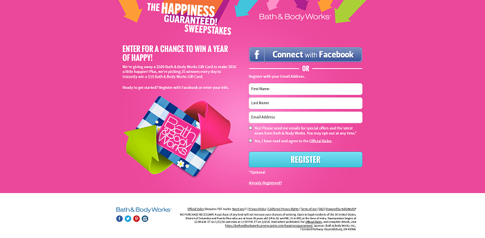 Bath & Body Works Happiness Guaranteed Sweepstakes