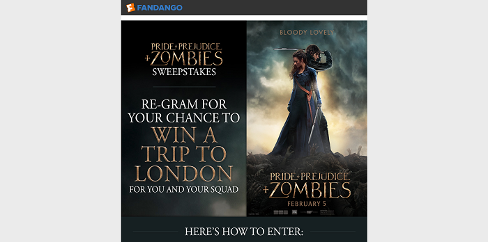 Fandango's Pride and Prejudice and Zombies Instagram Sweepstakes