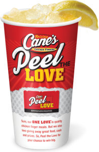raising cane's peel the love cup