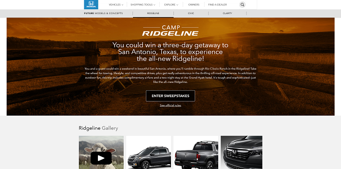 Honda Camp Ridgeline Sweepstakes