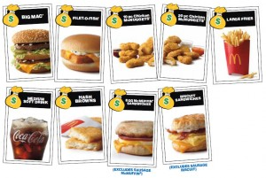 2016 McDonalds MONOPOLY Food Items
