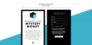 Banana Republic Factory Mystery Money Instant Win Game