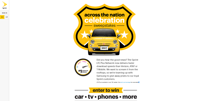 Sprint Across The Nation Celebration Sweepstakes