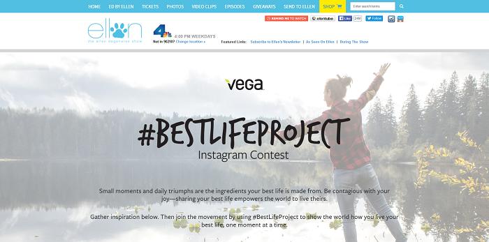 EllenTV.com Vega #BestLifeProject Instagram Contest
