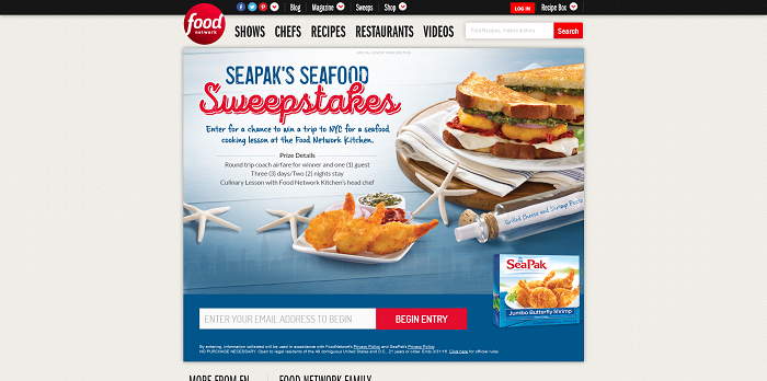 FoodNetwork.com/SeafoodSweepstakes: SeaPak's Seafood Sweepstakes