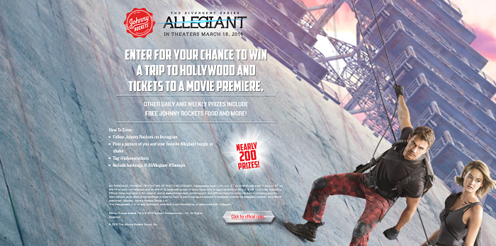 JohnnyRockets.com/Allegiant - Johnny Rockets The Divergent Series: Allegiant Sweepstakes