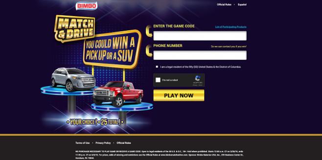 BimboMatchnDrive.com - BIMBO Match N' Drive Instant Win Game 2016