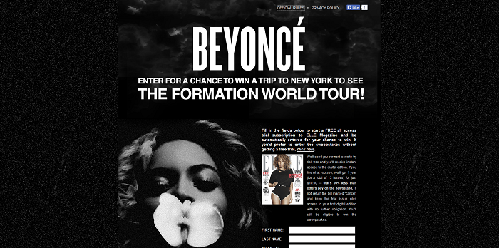 ELLE.com Beyonce Formation Sweepstakes
