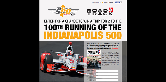 RoadandTrack.com Indy 500 Sweepstakes