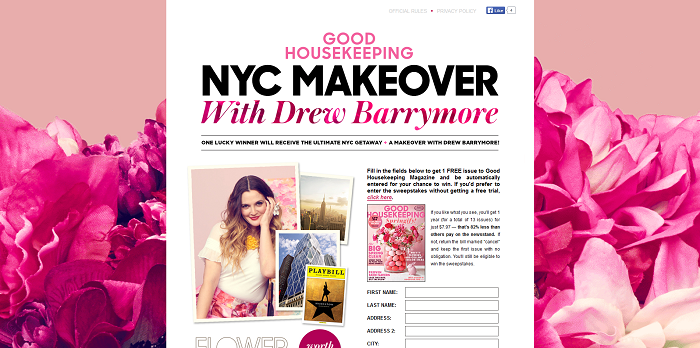 GoodHousekeeping.com Drew Barrymore Sweepstakes