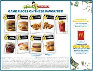 McDonalds Monopoly 2016 Game Board Back