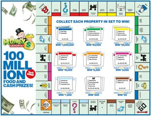 McDonalds Monopoly 2016 Game Board Front