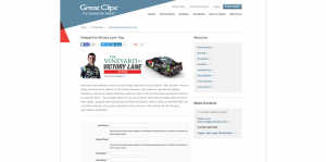 2016 Great Clips Vineyard To Victory Lane Tour Sweepstakes