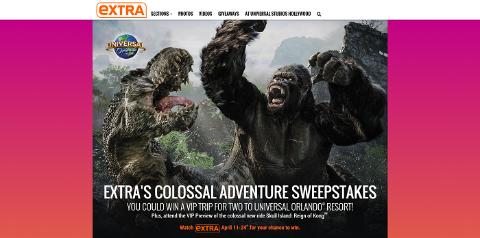 ExtraTV.com Universal Orlando Colossal Adventure Sweepstakes