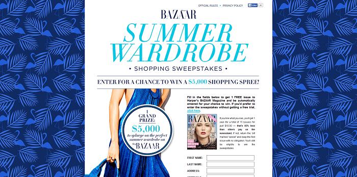 HarpersBazaar.com/SummerWardrobe Harper's BAZAAR Summer Wardrobe Sweepstakes 2016