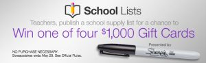 Amazon School Lists Sweepstakes