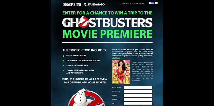 Cosmopolitan.com Ghostbusters - Cosmopolitan Ghostbusters Premiere Trip Sweepstakes