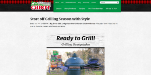 Cabot Creamery Grilling Sweepstakes