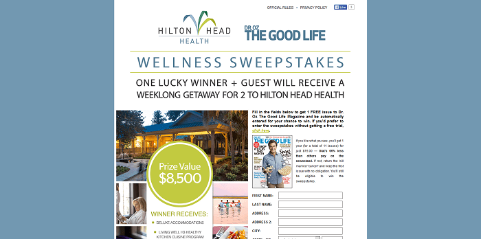 DrOzTheGoodLife.com/HiltonHeadHealth - Hilton Head Health Dr. Oz The Good Life Sweepstakes