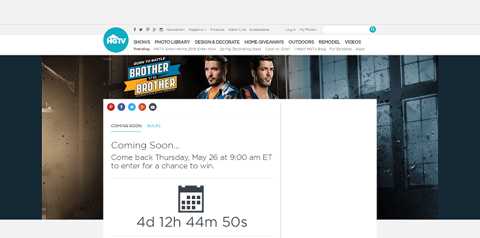 HGTV.com/BrotherSweeps - HGTV Brother Vs. Brother Sweepstakes 2016