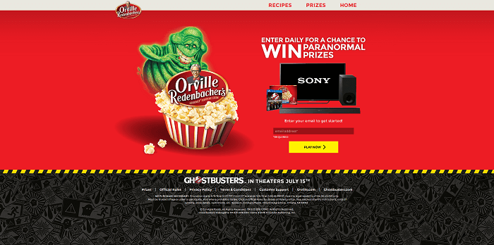 OrvilleAndWin.com - Orville Redenbacher's & Ghostbusters Sweepstakes