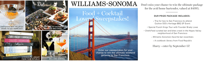 Williams-Sonoma Food And Cocktail Lovers Sweepstakes