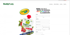 Buddy Fruits 2016 Back to School Sweepstakes