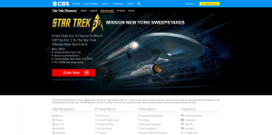 CBS Star Trek Mission New York Sweepstakes