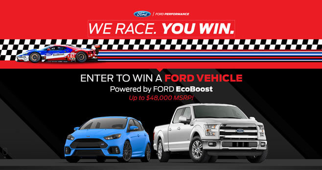 Ford We Race, You Win Sweepstakes 2017 (WeRaceYouWin.com)