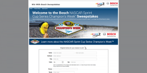 Bosch NASCAR Sprint Cup Series Champion's Week Sweepstakes