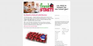 California Giant Berry Farms Fresh Start Sweepstakes
