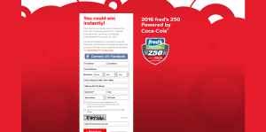 2016 fred's 250 Powered by Coca-Cola Instant Win Game
