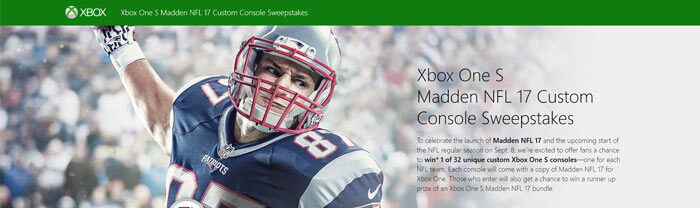 XboxPromotions.com - Xbox One S Madden NFL 17 Custom Console Sweepstakes